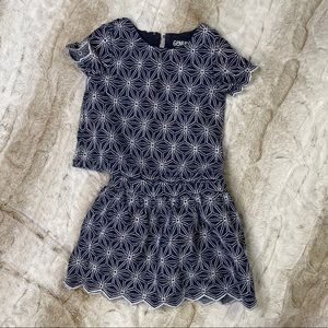 Genuine Kids blue and white embroidered skirt set
